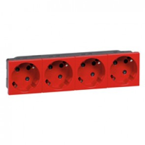 Multi-support multiple socket Mosaic - 4 x 2P+E automatic terminals - tamperproof