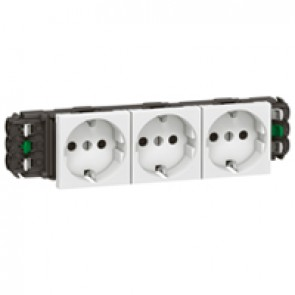Socket Mosaic - 3 x 2P+E -for installation on flexible cover DLP trunking -automatic terminals -standard