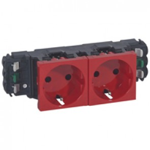 Socket Mosaic - 2 x 2P+E - for installation on flexible cover DLP trunking - automatic terminals - red