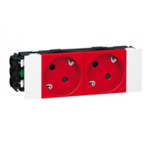 Socket Mosaic - 2 x 2P+E -for installation on flexible cover DLP trunking - automatic terminals - tamperproof