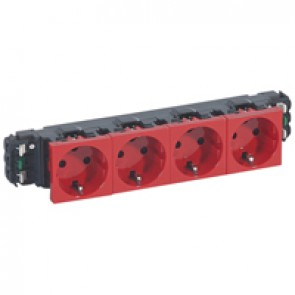 Socket Mosaic - 4 x 2P+E -for installation on flexible cover DLP trunking - automatic terminals - tamperproof