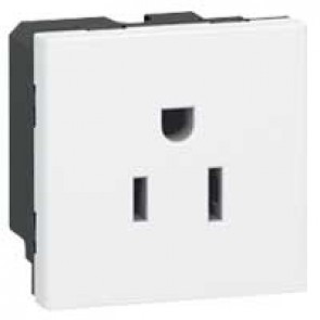Socket outlet Mosaic - US - 2P+E 15 A - 2 modules - white