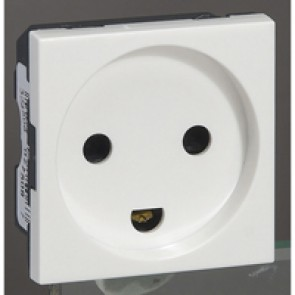 Socket outlet Mosaic - Danish - 2P+E - with shutters - 2 modules - white