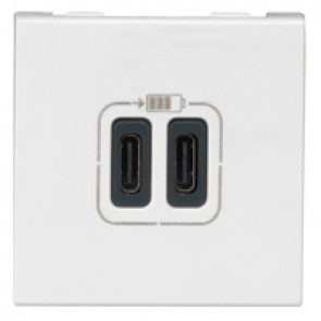 Double USB Type-C + Type-C charging sockets Mosaic - 5 V - 3 A - 15 W - 2 modules - white