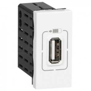 Single USB socket Mosaic - 5 V - 750 mA - 1 module - white