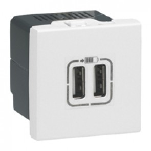 Double USB socket Mosaic - 5 V - 1500 mA - 2 modules - white