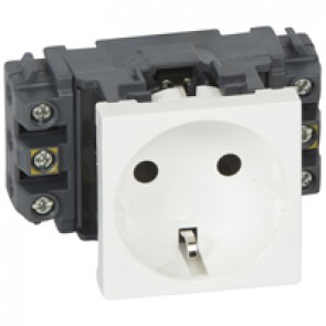 Socket Mosaic - 2P+E - for installation on flexible cover DLP trunking - screw terminals - standard