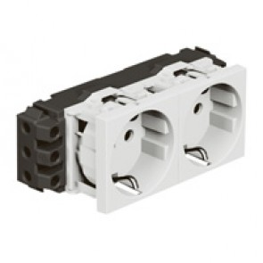 Socket Mosaic - 2 x 2P+E - for installation on flexible cover DLP trunking - screw terminals - standard