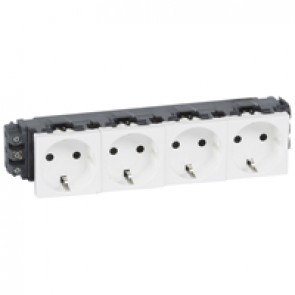 Socket Mosaic - 4 x 2P+E - for installation on flexible cover DLP trunking - screw terminals - standard