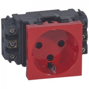 Socket Mosaic - 2P+E - for installation on flexible cover DLP trunking - screw terminals - tamperproof