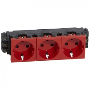 Socket Mosaic - 3 x 2P+E -for installation on flexible cover DLP trunking -screw terminals -tamperproof