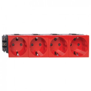 Socket Mosaic - 4 x 2P+E -for installation on flexible cover DLP trunking -screw terminals -tamperproof