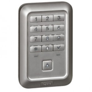 Outdoor backlit coded keypad with push-button Soliroc- flush-mounting -IK10-IP55