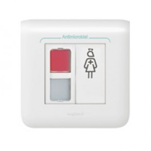Door unit Mosaic-red and white indicator - 2 modules - White antimicrobial