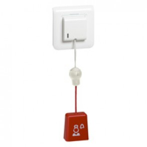 Ejectable call pull cord Mosaic - for bathroom - 2 modules-White antimicrobial