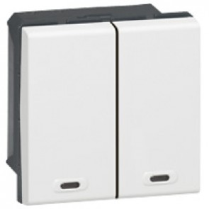 ON/OFF push-button 2-way Mosaic BUS/SCS for lighting management - 2 modules - white