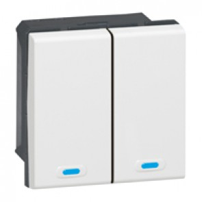 KNX control unit Mosaic - lighting management - 2 push 2 actuation point -white