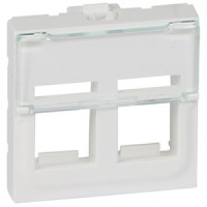 Adaptor for RJ 45 Mosaic - for 2 Keystone connectors - 2 modules - white