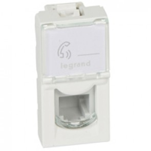 Telephone socket Mosaic - RJ11 - 4 contacts - 1 module - white