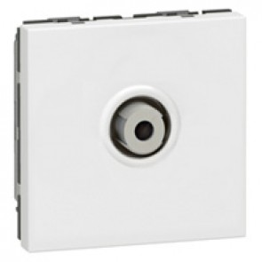 "TV socket Mosaic - single type ""F"" - screw in - 2 modules - white"