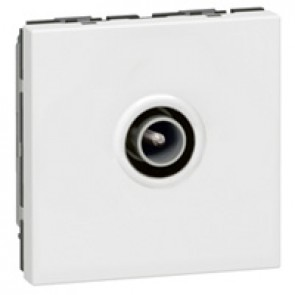 TV socket Mosaic - single - male Ø9.52 mm - 2 modules - white