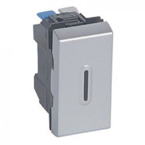 2-way switch Mosaic - with LED indicator - 10 AX 250 V~ - 1 module - alu