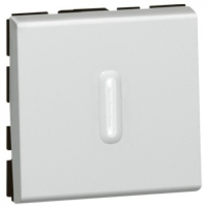 2-way push-button Mosaic - 6 A 250 V~ - 2 modules - alu