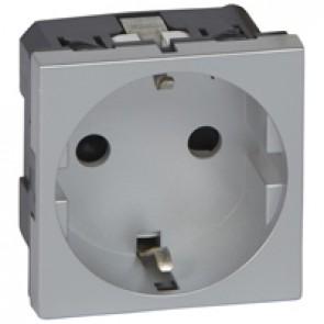 Multi-support single socket Mosaic - German standard - 2P+E - 2 modules - alu