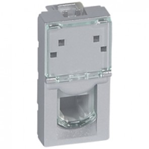 Telephone socket Mosaic - RJ11 - 4 contacts - 1 module - alu