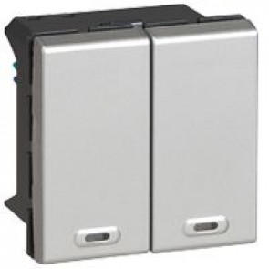 Multifunction switch 2-way Mosaic BUS/SCS for lighting management - 2 modules - aluminium