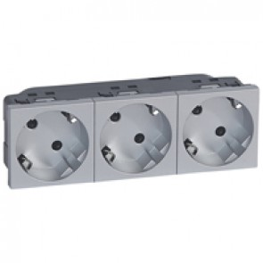 Multi-support multiple socket Mosaic - 3 x 2P+E automatic terminals - alu