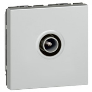 TV socket Mosaic - single - male Ø9.52 mm - 2 modules - alu