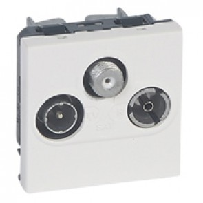 TV socket Mosaic - TV/R/SAT - screened - insulated - 2 modules - alu