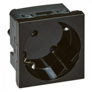 Multi-support German standard socket outlet for trunking - 2P+E inclined 45° - automatic terminals - black