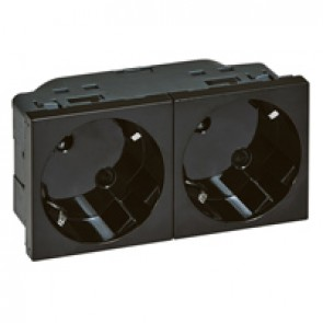 Multi-support German standard socket outlet for trunking - 2x2P+E inclined 45° - automatic terminals - black