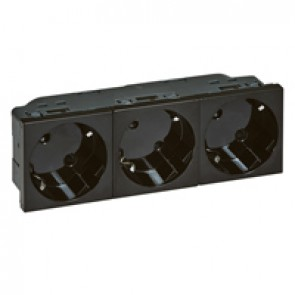 Multi-support German standard socket outlet for trunking - 3x2P+E inclined 45° - automatic terminals - black