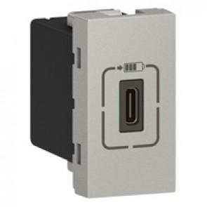 Single USB Type-C charging socket Mosaic - 5 V - 1.5 A - 7.5 W - 1 modules - alu