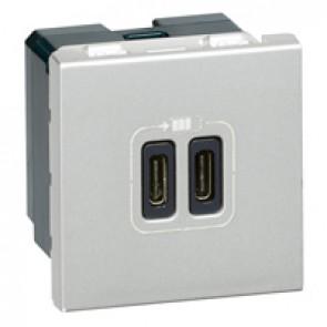 Double USB Type-C + Type-C charging sockets Mosaic - 5 V - 3 A - 15 W - 2 modules - alu