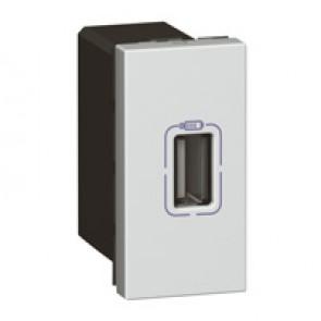 Single USB socket Mosaic - 5 V - 750 mA - 1 module - alu