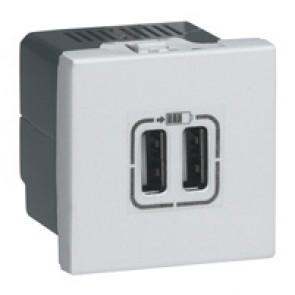 Double USB socket Mosaic - 5 V - 1500 mA - 2 modules - alu