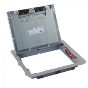 Metal lid and trim for standard floor boxes 12/18 modules Cat.Nos 088021 / 088024 / 088040 -with stainless steel coating