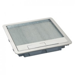Metal lid and trim for standard floor boxes 16/24 modules Cat.Nos 088022 / 088025 / 088041 -with stainless steel coating