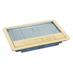 Metal lid and trim for standard version floor boxes 8/12 modules Cat.Nos 088020 / 088023 / 088039 - with brass coating
