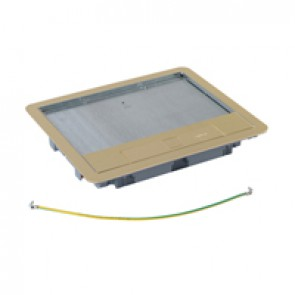 Metal lid and trim for standard version floor boxes 12/18 modules Cat.Nos 088021 / 088024 / 088040 - with brass coating