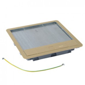 Metal lid and trim for standard version floor boxes 16/24 modules Cat.Nos 088022 / 088025 / 088041 - with brass coating