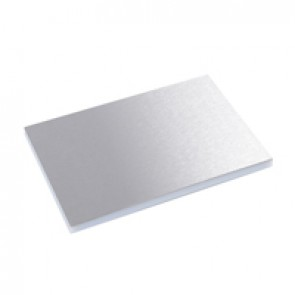 Finishing plate for plastic lids and trims for standard floor boxes - 16/24 modules - stainless steel finish