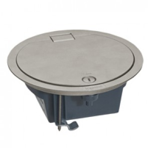 Floor box with hinged lid - IP66 - 4 modules - stainless steel