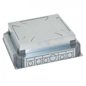 Auto-adjusting backbox for standard or flush version floor boxes - for concrete floor - 12/18 modules