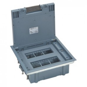 Plastic cover floor box for wiring devices in horizontal position - 12 modules