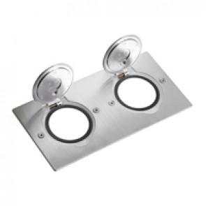 Receptacle for floor socket Arteor/Mosaic - rectangular version -stainless steel